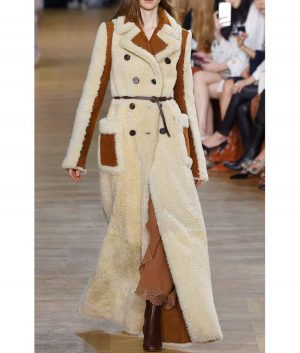 Camila Double-Breasted Shearling Long Coat With Chocolate Leather Belt