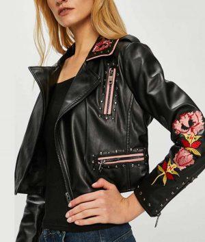 Carla Roson Elite S02 Ester Exposito Black Embroidered Leather Jacket