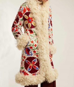 Shearling Hannah Floral Embroidered Coat