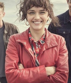 Olivia Cooke Pixie Leather Trench Coat