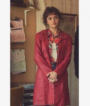 Olivia Cooke Pixie Leather Coat