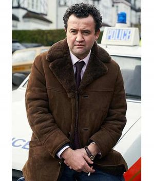 Des Daniel Mays Brown Shearling Coat