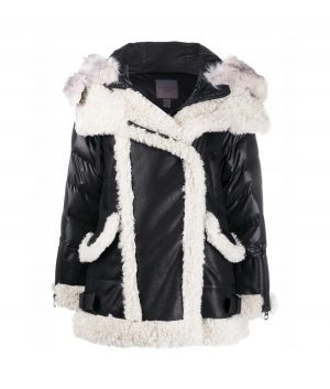 Victoria Shearling Black Padded Jacket With Fur