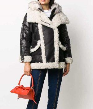 Victoria Black Padded Shearling Jacket