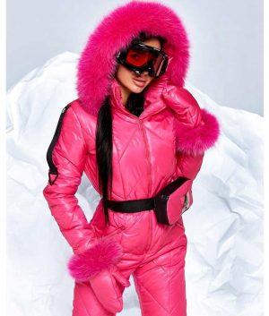 Womens Pink Hood Fur Snowboard Puffer Ski Jumpsuit