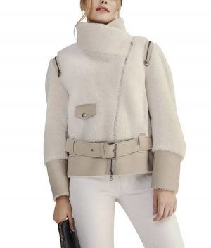 Women's Shearling Jacket With Leather Belt