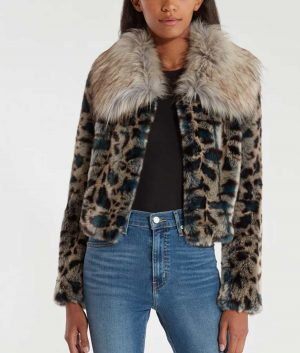 Wynonna Earp Waverly Earp Leopard Faux Fur Cropped Jacket