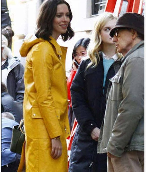 A Rainy Day In New York Elle Fanning Yellow Leather Coat With Hood