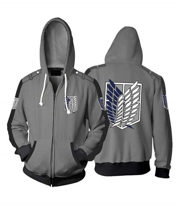 Attack On Titan Zipper Hoodie For Unisex
