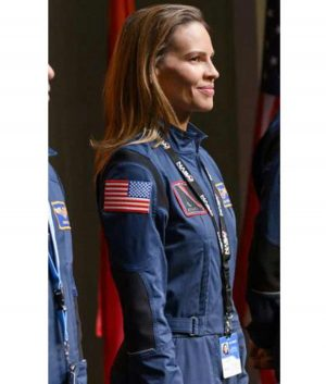 Emma Green Away, Hilary Swank Blue Uniform Jacket