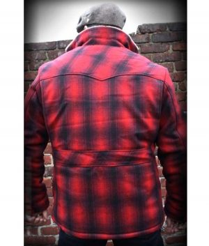 Cameron Red Plaid Jacket With Shearling Collar