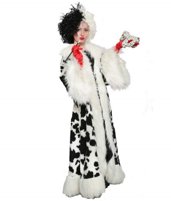 Cruella Deville Black Dot Fur Coat