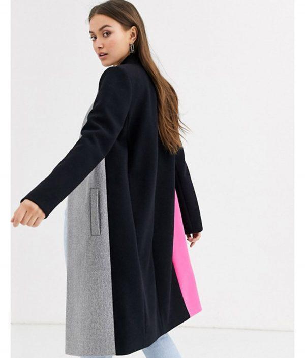 Lily Collins Emily In Paris Color Block Coat