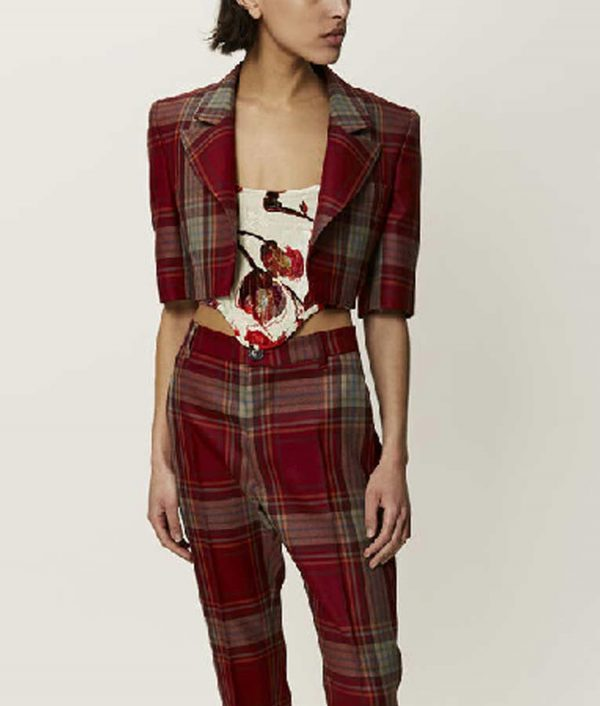 Lily Collins Emily In Paris Emily Cooper Cropped Red Plaid Jacket