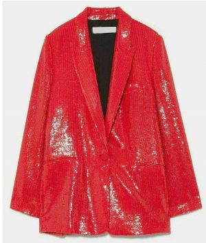 Emily In Paris Red Sequin Blazer