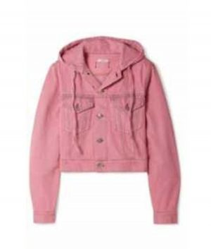 Emily In Paris Emily's Pink Hooded Denim Jacket