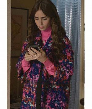 Emily In Paris Lily Collins Floral Coat