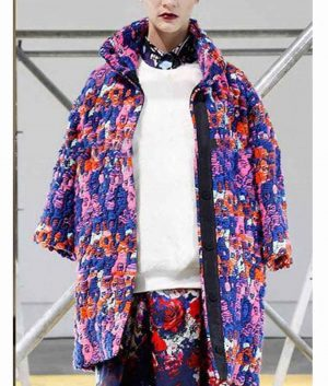 Emily In Paris Lily Collins Blue Printed Floral Coat