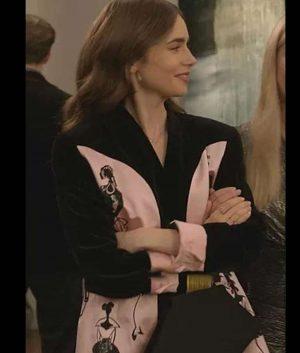 Lily Collins Emily In Paris Satin Blazer