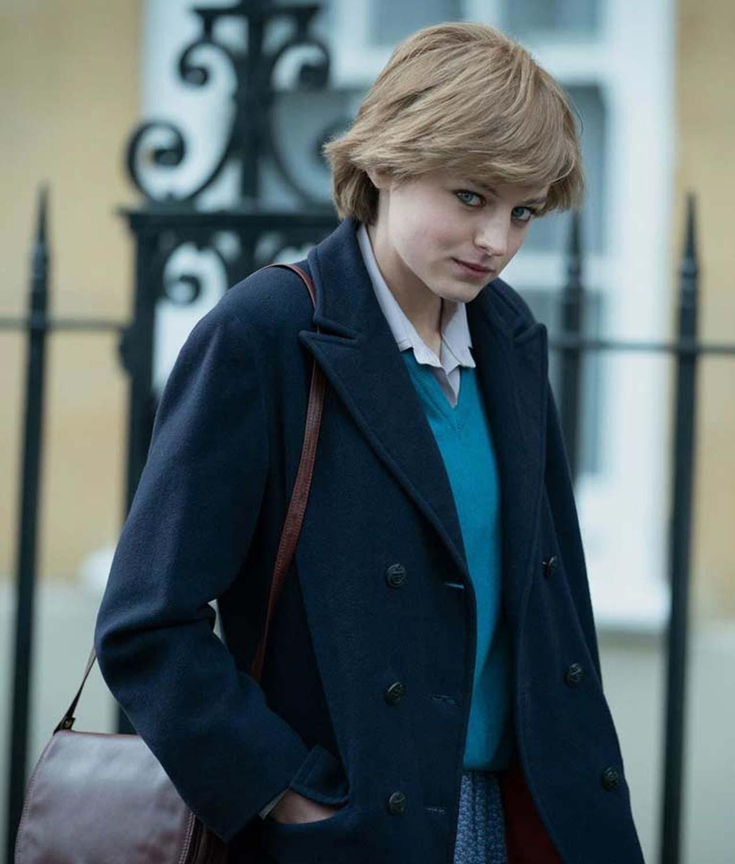 Emma Corrin The Crown Lady Diana Spencer Coat Abbraci