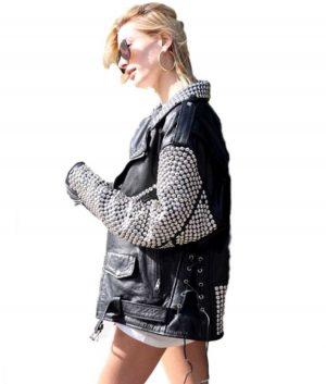 Black Leather Hailey Baldwin Silver Studded Jacket