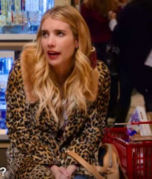 Emma Roberts Holidate 2020 Sloane Leopard Print Coat With Fur Collar