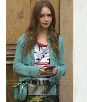 Lily Collins Emily In Paris Emily Chain Trim Cardigan