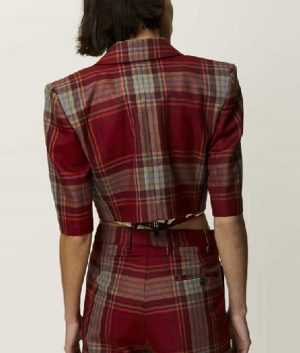 Emily In Paris Emily Cooper Cropped Red Plaid Jacket