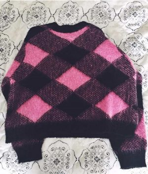 Emily In Paris Lily Collins Pink Blocked Woolen Sweater