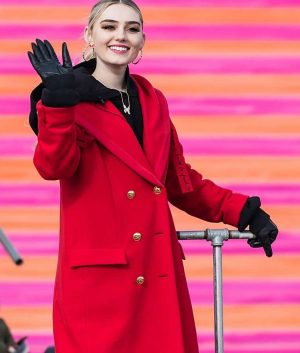 Meg Donnelly 100th Thanksgiving Day Red Trench Coat