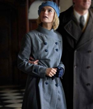 Lily James Rebecca Mrs. de Winter Coat