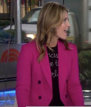 Savannah Guthrie Pink Double-Breasted Blazer