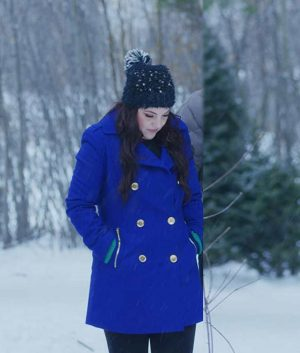 Julia Rogers Double-Breasted The Christmas Listing Lexi Giovagnoli Blue Coat