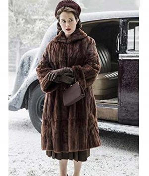 The Crown Claire Foy Queen Elizabeth II Brown Shearling Coat