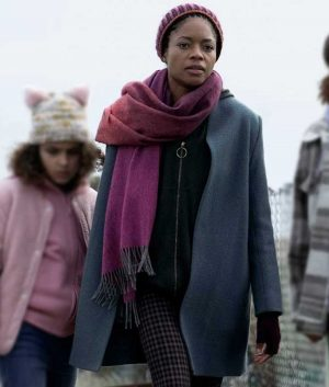Naomie Harris Grey Wool-blend The Third Day Helen Coat