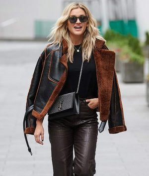 Christmas Spirit Brown Shearling Leather Jacket