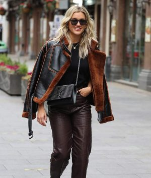 Christmas Spirit Ashley Roberts Brown Shearling Leather Jacket