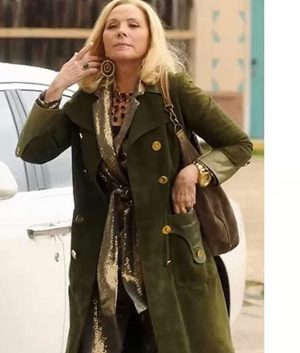 Filthy Rich Kim Cattrall Green Suede Leather Coat