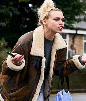 I Hate Suzie Billie Piper Brown Sheepskin Leather Jacket
