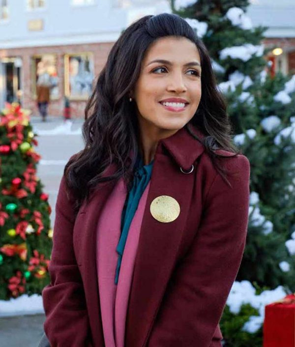 Kendra Adams The Christmas Ring Nazneen Contractor Maroon Coat