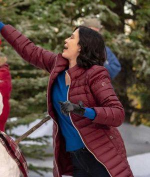 Meet Me at Christmas Joan Catherine Bell Maroon Puffer Coat
