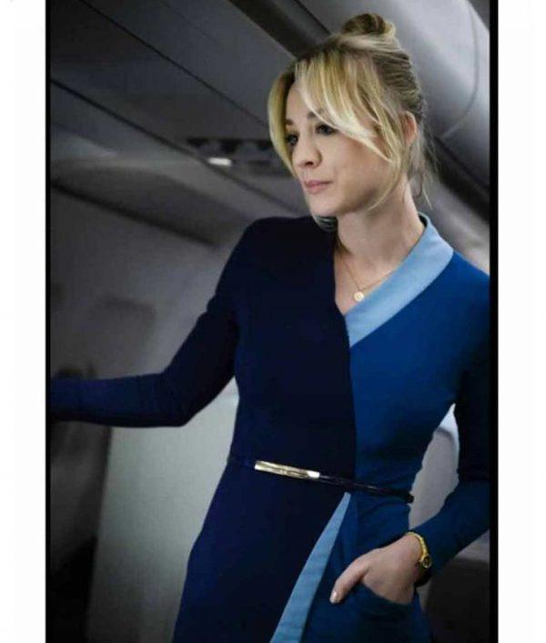 Kaley Cuoco The Flight Attendant Cassie Bowden Blue Wrap Dress
