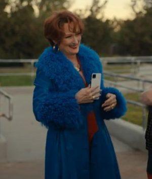 The Prom Meryl Streep Dee Dee Allen Blue Fur Trench Coat