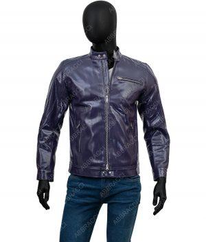 Alexander Navy Blue Cafe Racer Leather Jacket