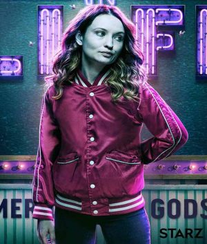 Emily Browning American Gods Laura Moon Red Bomber Jacket