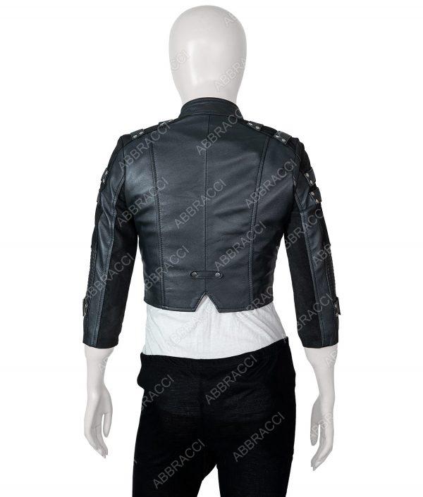 Katie Cassidy Balck Leather Jacket