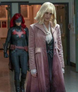 Rachel Skarsten Light Pink Batwoman Beth Kane Corduroy Trench Coat