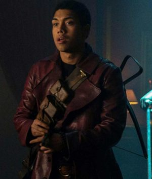 Chance Perdomo Chilling Adventures of Sabrina Maroon Leather Trench Coat