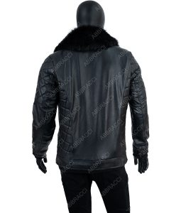 Dominick Black Leather Jacket With Fur Collar