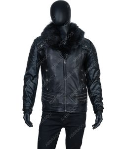 Dominick Black Leather Jacket With Faux Fur Collar